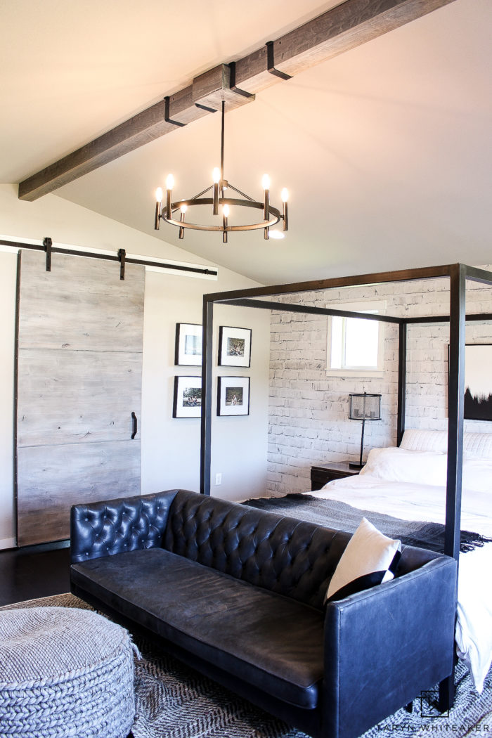 Get great tips on how to install DIY Wood Beams in your home for a rustic look. Love how they look in this black and white modern bedroom.