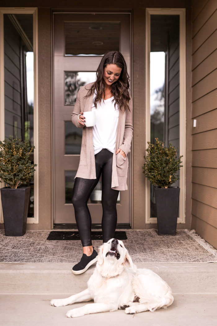 The perfect every day fall outfit for everywomen. These Spanx faux leather leggings go with just about everything. Style them with a long tan cardigan and tie front white tee for a comfy cute look.