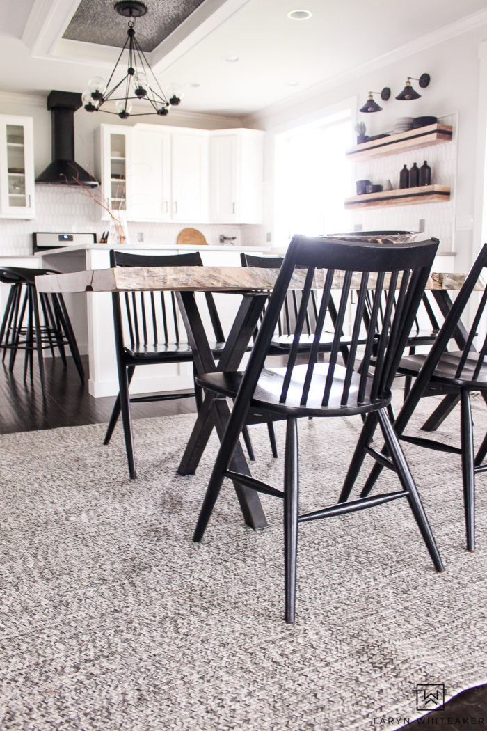 Scandinavian inspired dining chairs! Love these modern chairs, they are comfy and give your dining area a sleek look.