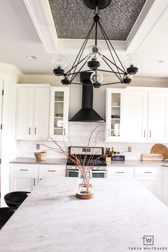 Black and White Rustic Modern Kitchen with natural wood accents. Gorgeous sleek design.
