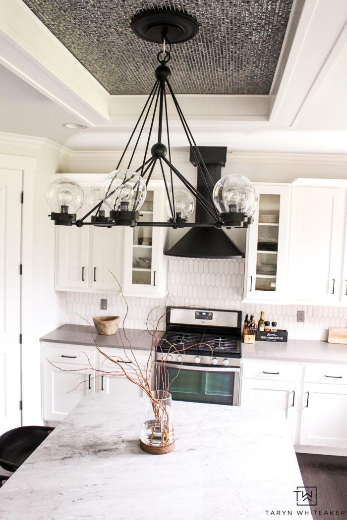 Black mid-century modern kitchen chandelier.