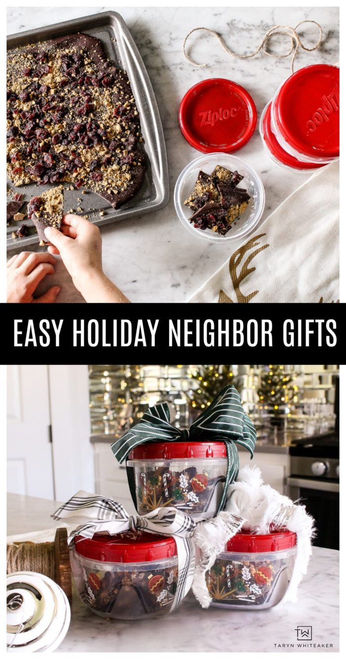 Quick and easy tips for creating Holiday Gifts for your neighbors! Package your homemade goodies in these adorable holiday containers for a festive look that you can reuse again and again!