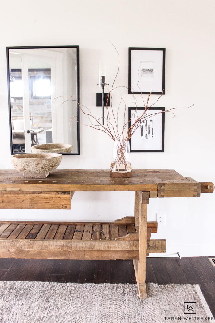 Restoration Hardware inspired Entry Way for less! Get the look with all these great finds, love this modern rustic black and white entry way decor.