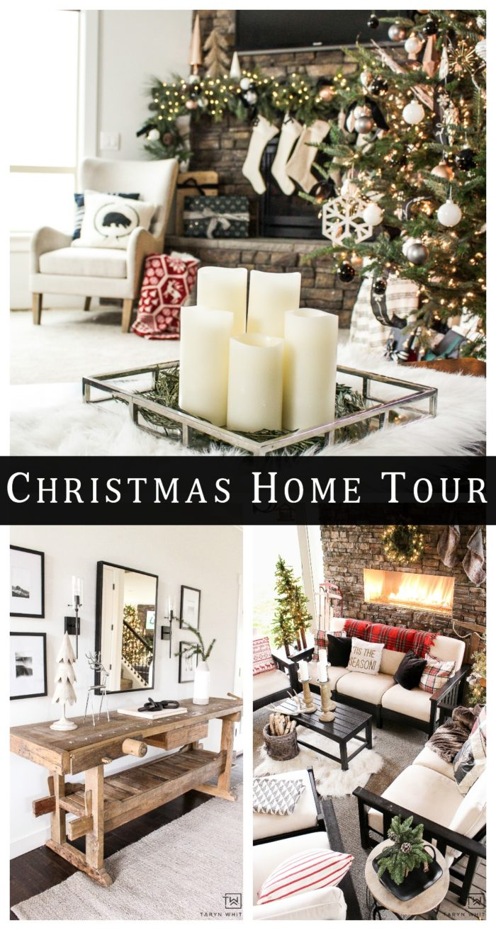 Take a tour of this black and white classic christmas home tour! Every space filled with holiday touches that make a glowing house!