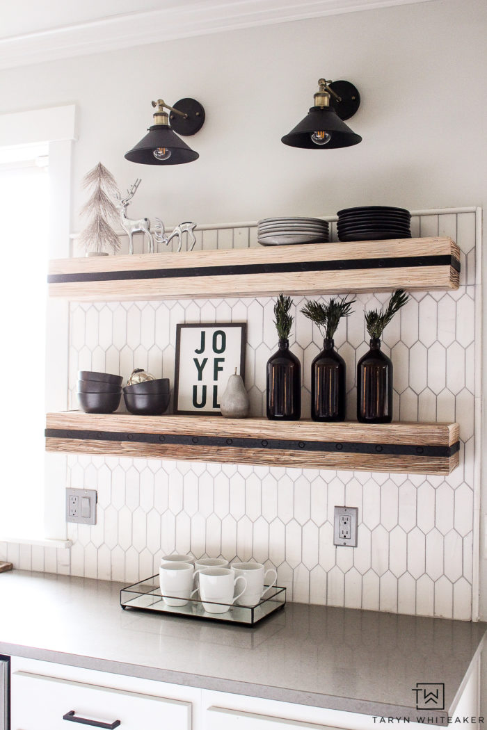 Open Shelves in kitchen all decorated for Christmas! Add a few simple touches to make this space feel more festive.