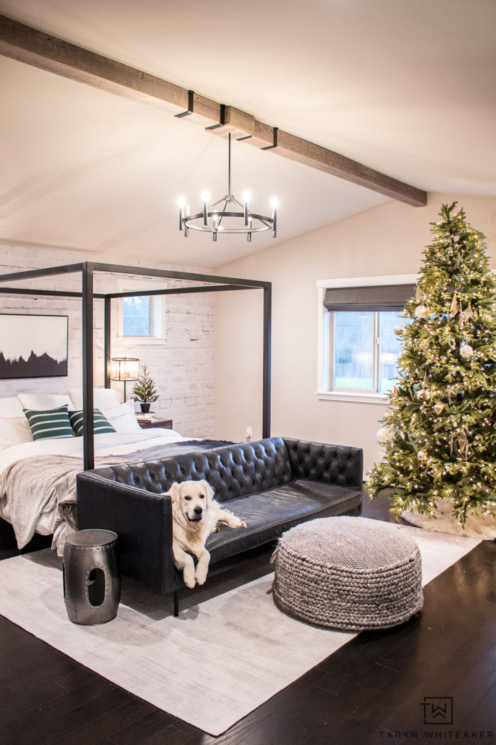Nothing more magical than falling asleep to the twinkling lights of the holidays. A Christmas Tree in the bedroom is a must for a little extra magic