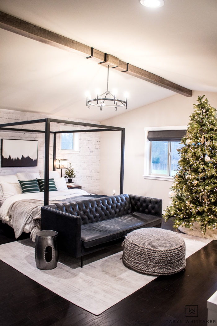 Nothing more magical than falling asleep to the twinkling lights of the holidays. A Christmas Tree in the bedroom is a must for a little extra magic.