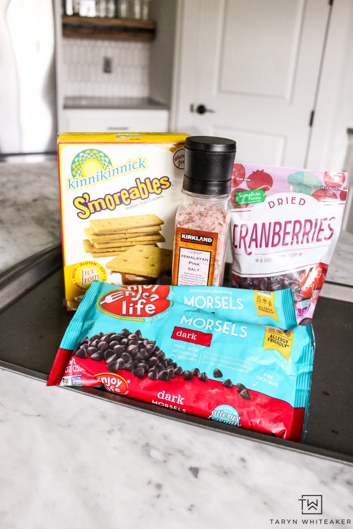 Gluten free ingredients for make homemade chocolate bark!