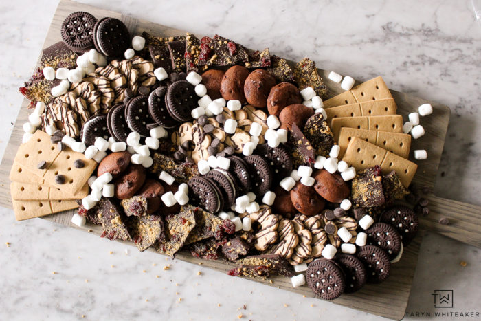 Tips for creating your own dessert charcuterie board with tons of gluten free chocolate goodie!