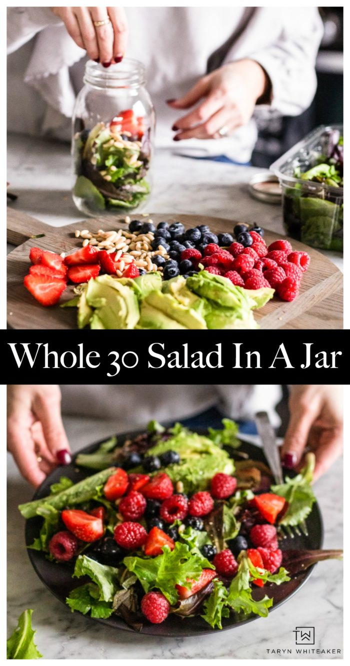 Get back to healthy in the New Year, kick off healthy habits with Whole 30 Salads In A Jar. Meal prep is key for staying on track with a healthy lifestyle.