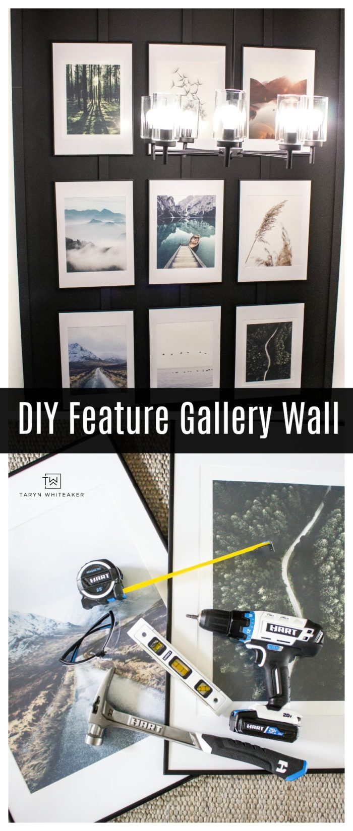 Learn how to create your own DIY Feature Gallery Wall with wall moulding and large prints!
