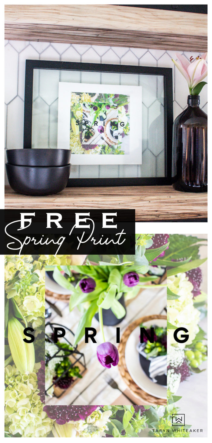 FREE Spring Floral Print for your home! Easily decorate for spring using this free printable.