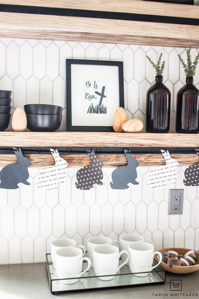 Love neutral decor? Here are some ideas on creating a black and white Easter Vignette for your kitchen or shelving decor. Plus grab a free Easter printable.