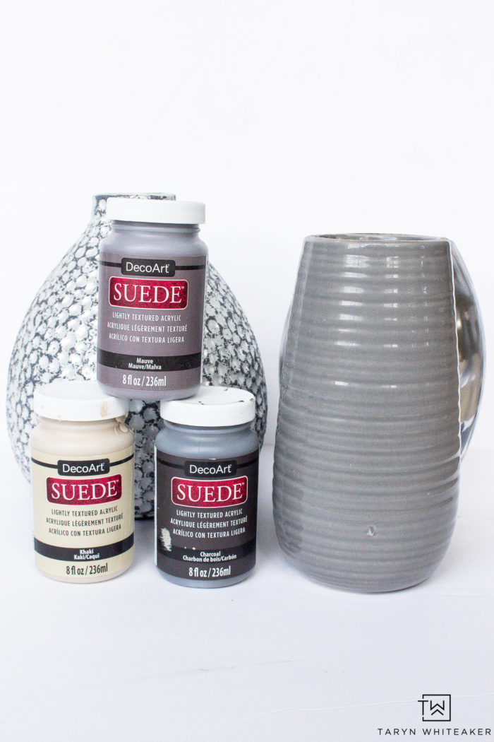 DIY Vase Makeover using DecoArt Suede Paint. Get this textured ceramic vase look using old vases and paint. It's an easy upcycled project anyone can do.