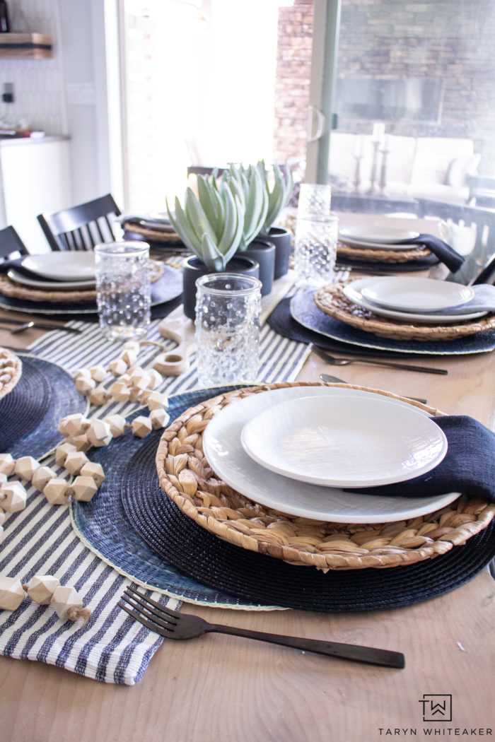 This Minimalistic Spring Table Decor allows you to add a pop of spring to your home while still keeping it clean and modern. Love the black and white decor.
