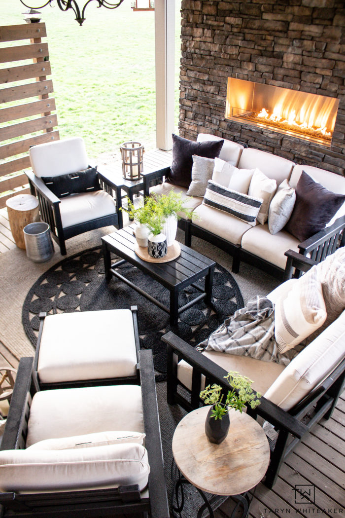 Spring outdoor patio using neutral tones and greenery.