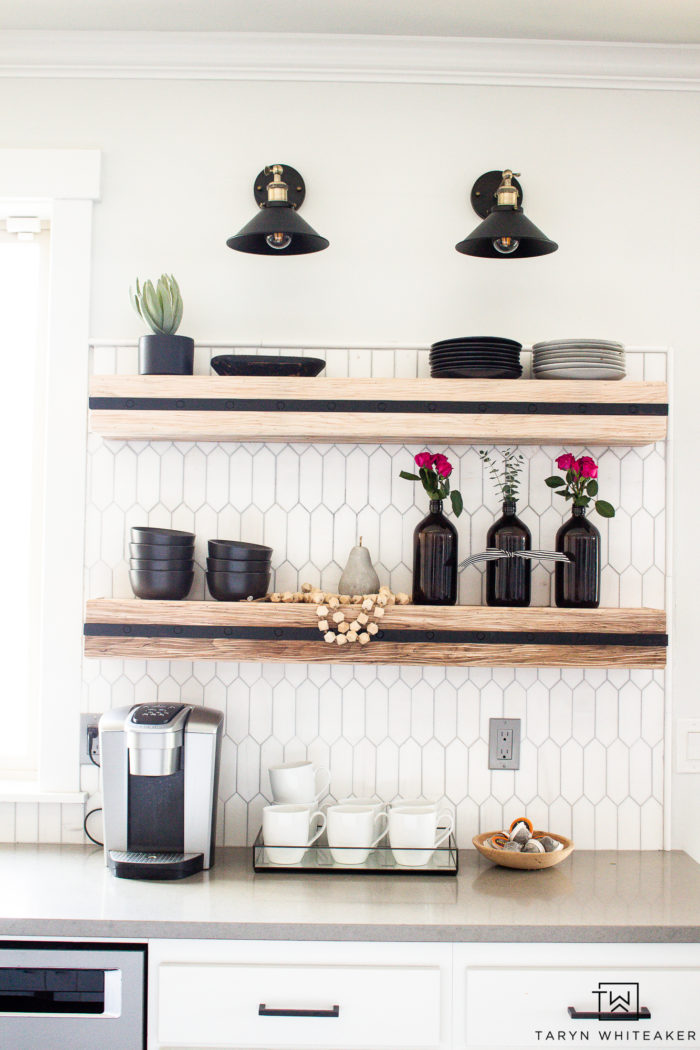 Decorating open shelves for spring! Love the pops of florals.