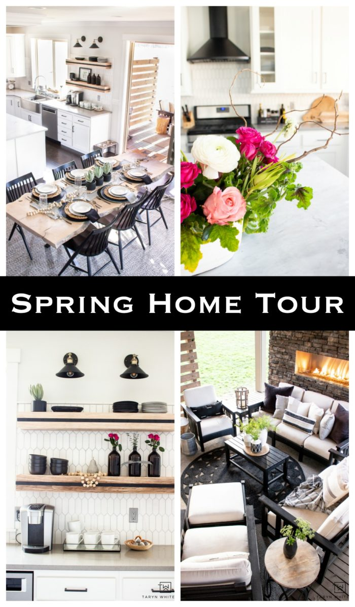 Spring Home Tour using black and white and pops of florals. Such a great way to decorate for spring using simple home accents.
