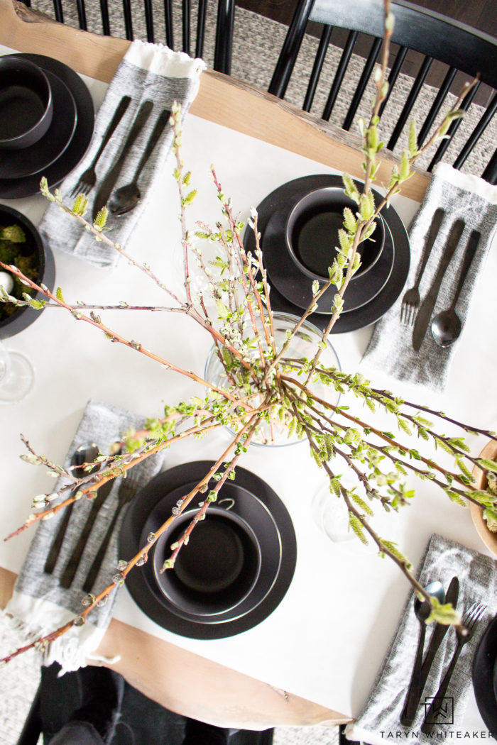 Use spring branches as a simple centerpiece to bring in a touch of nature.