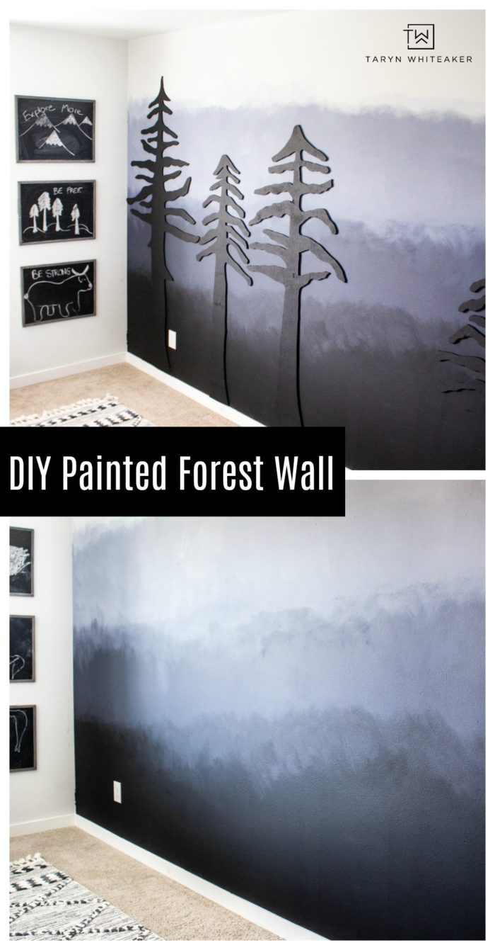 Learn how to create this DIY Painted Ombre Wall with a dark moody look! A great inexpensive accent wall idea.