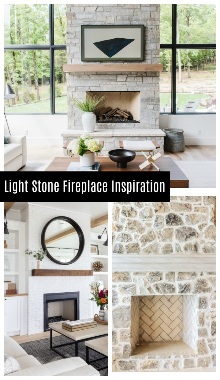 Light stone fireplace inspiration! Get the modern rustic look you are wanting for your home.