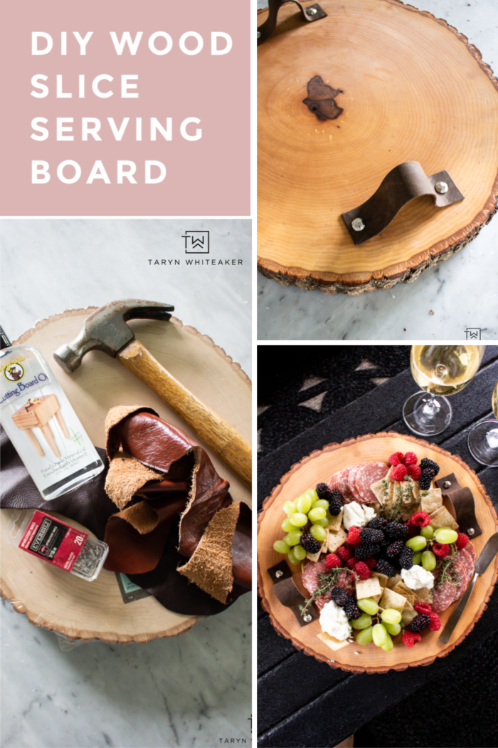 Learn how to make this DIY Wood Slice Serving Board using a wood round and leather straps! Easy 30 minute craft!