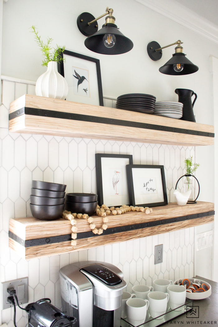 Open shelves in the kitchen are a great look for decorating and displaying dishes!