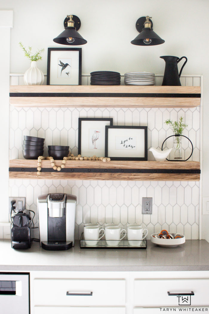 Summer Shelf Styling using bird artwork and black and white dishes for a modern look.