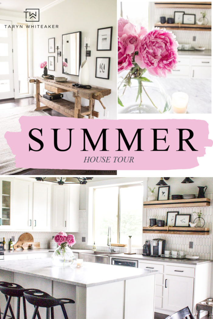 Tour this rustic modern summer house tour with pops of pink and summer decor.