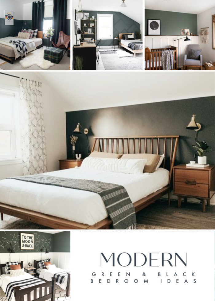 A collection of mid-century modern Green and White Modern Bedroom Ideas