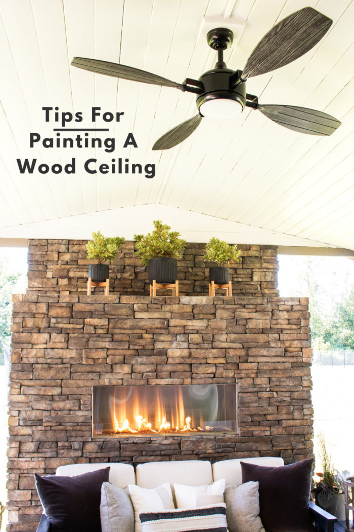 Tips for painting a wood ceiling! Learn how to properly paint over raw wood planks.