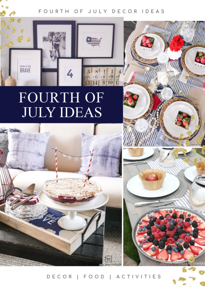 Get tons of Fourth of July Decor Ideas from DIY home decor, red, white & Blue food and free printables for the home and the kids to enjoy!