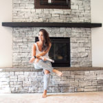 White Wash Stone Fireplace