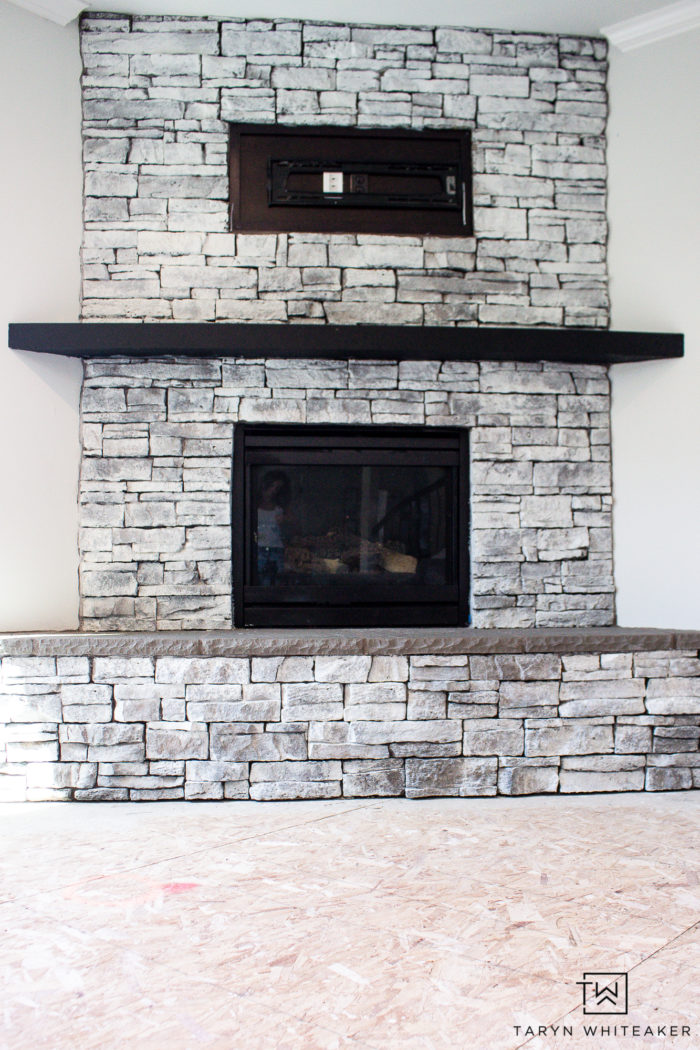 Get the look of this White Wash Stone Fireplace with an easy DIY makeover! You can get this farmhouse style look for just $6!