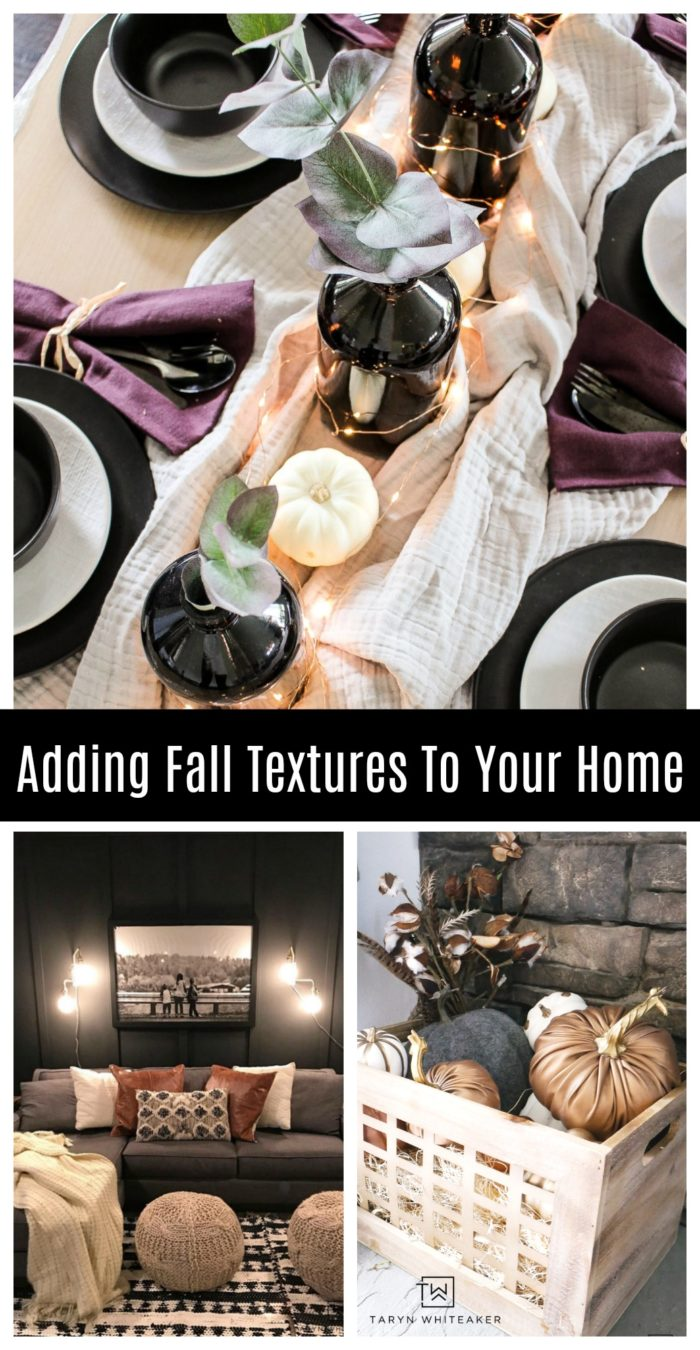Here are 5 Ways Add Fall Textures To Your Home through things you already have! From scarves, blankets, fabric pumpkins and more!