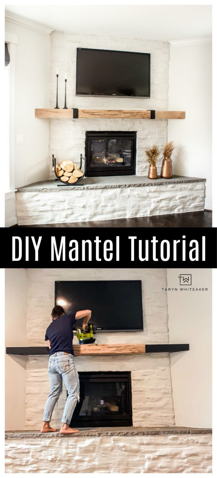 Using this DIY Mantel Tutorial you can learn how to make your own wood mantel cover from open shelving, it's easy and full of character.