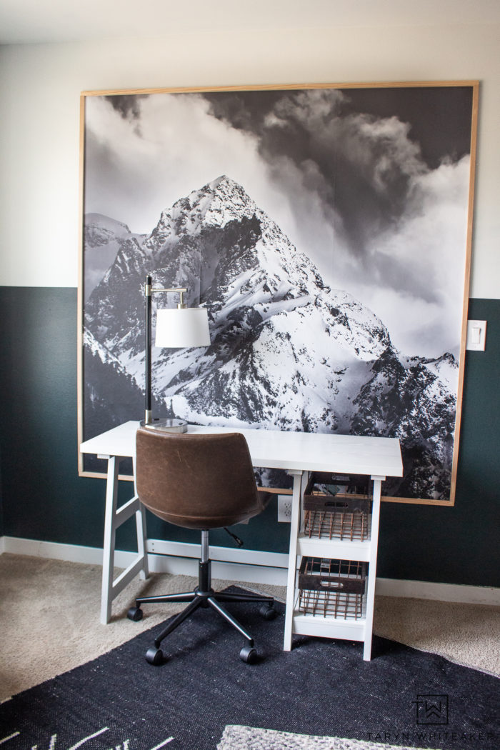 Learn how to create a large scale artwork in your home using vinyl wall murals and frame it! Great modern lodge look for a mountain retreat!