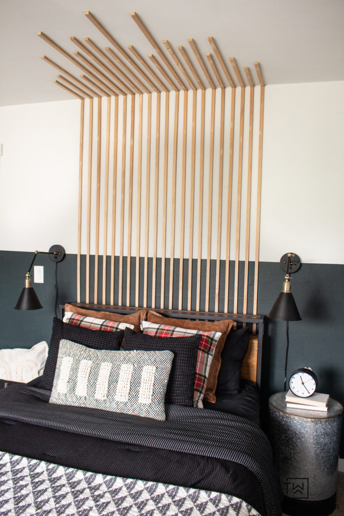 Great accent wall idea, love this vertical slat wall treatment. Super easy to do and makes a big impact.
