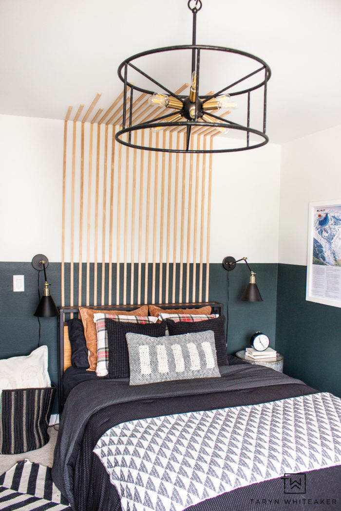 Vintage boys room with black accents