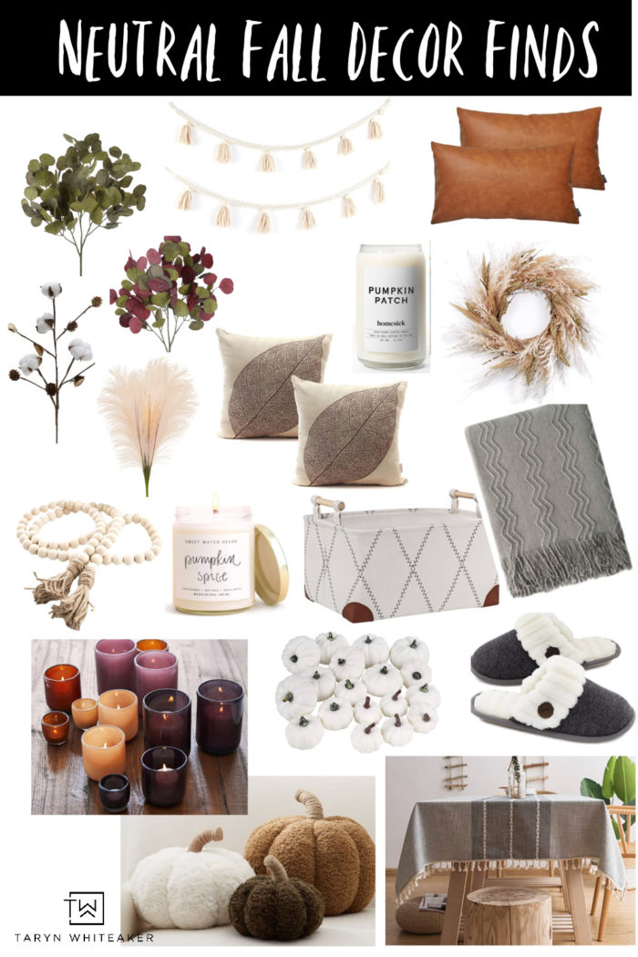 Your guide to chic and neutral fall decor! A complete list of all my favorite earth tone and neutral faall decor items you can buy online.