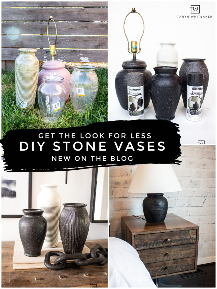 Learn how to create your own DIY Stone Vases with a high end look for less using Rustoleum Imagine Stone Texture Spray.