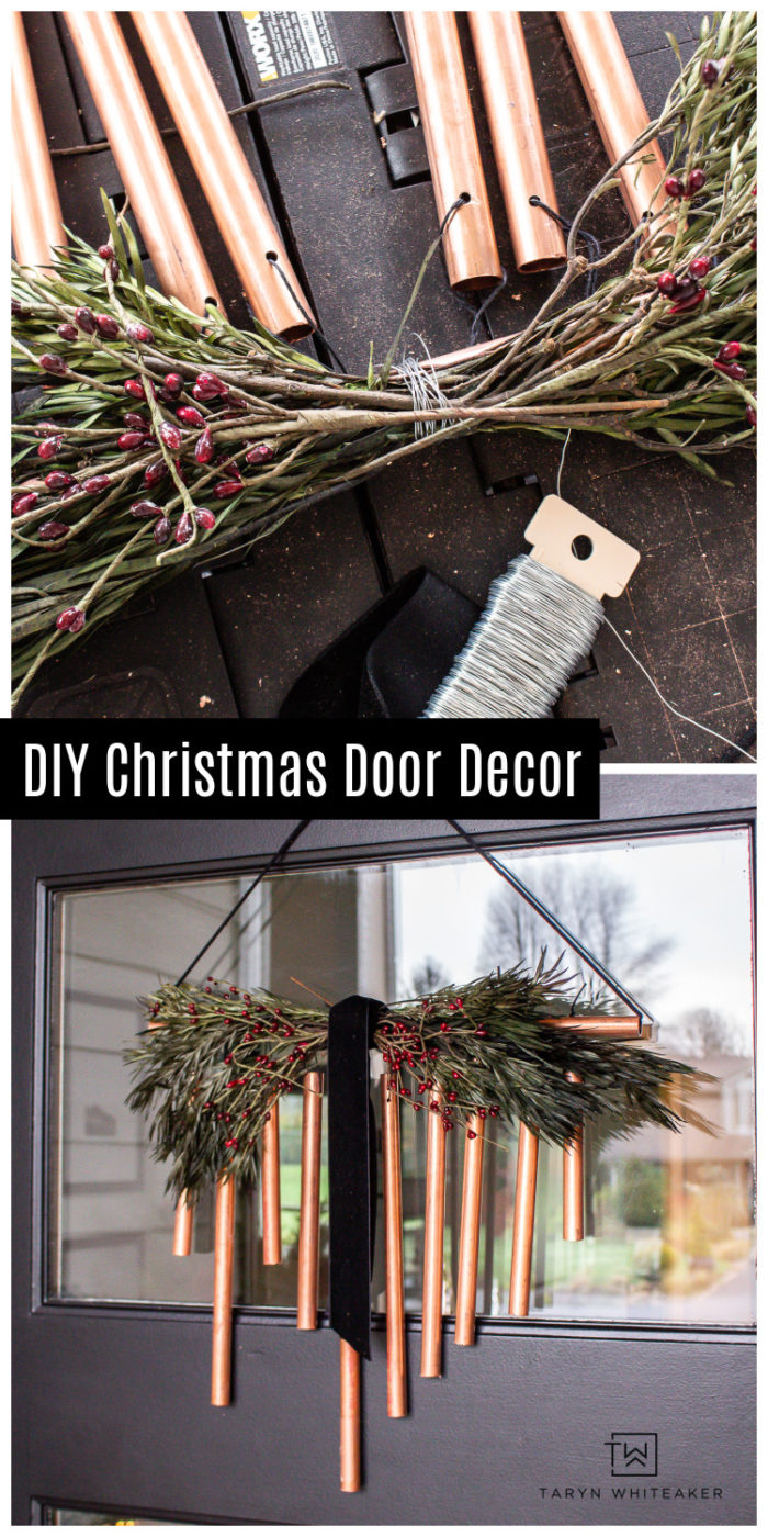 Learn how to make this DIY Copper Christmas Door Decor using WORX Tools MakerX! This easy Christmas DIY is so easy!