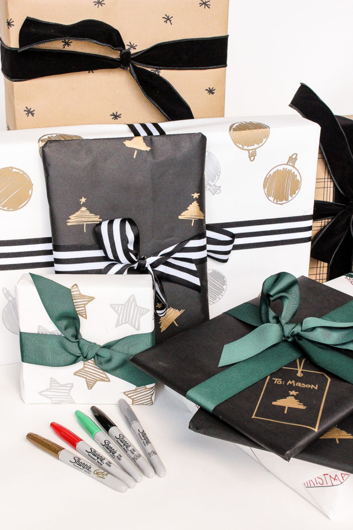 Create your own Sharpie Christmas Gift Wrap! This inexpensive DIY projects helps you create personalized wrapping paper for those you love.