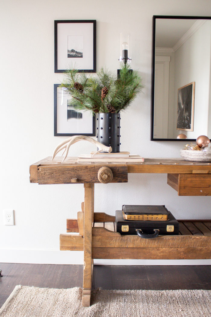 Holiday entry way featuring DIY modern hobnail vase!
