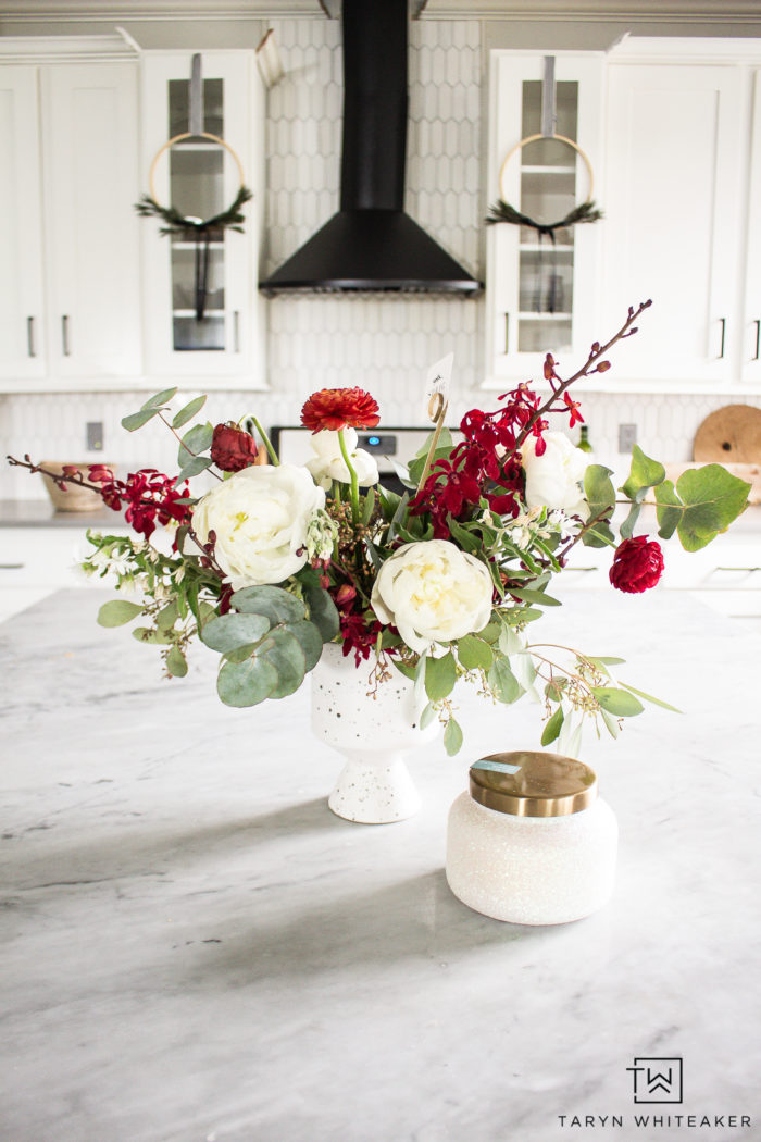 Beautiful red and white Christmas floral display with organic feel