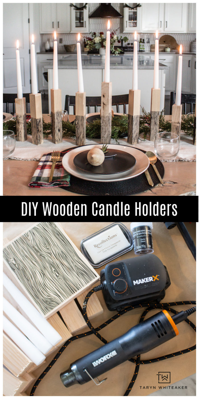 Learn how to make your own Wooden Taper Candle Holders with embossed faux woodgrain pattern! Perfect rustic Christmas decor.