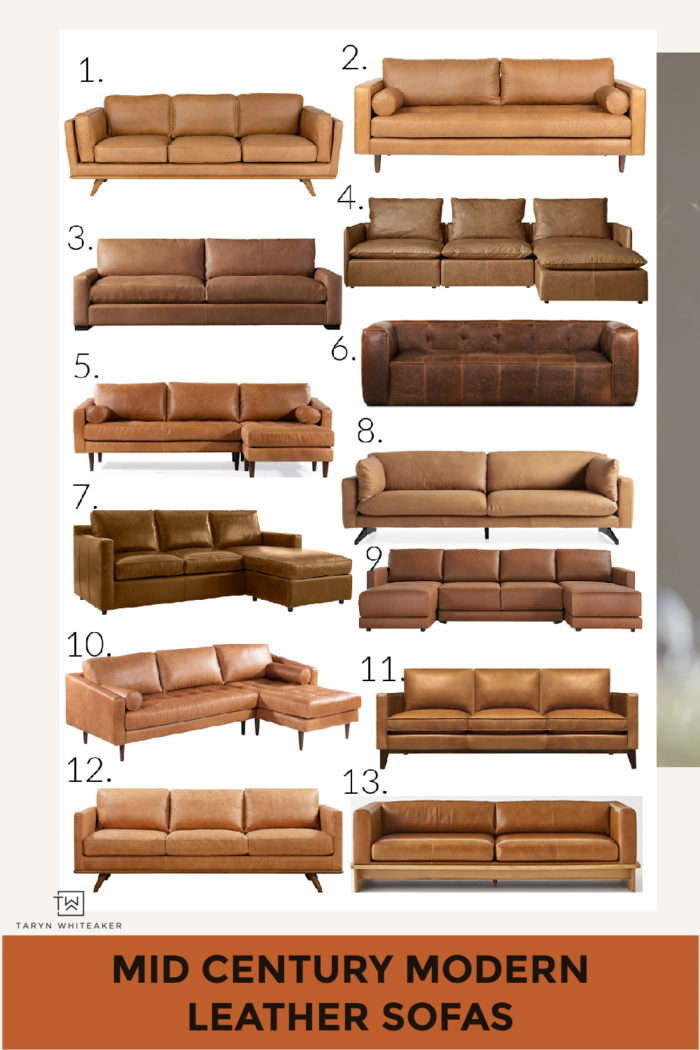 A great round up of Mid Century Modern Cognac Leather Sofas that will look gorgeous in any modern home! Prices range.