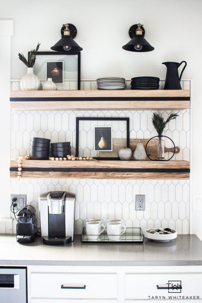 Floating Kitchen Shelves! This rustic modern look brings warmth to the space and also clean lines.