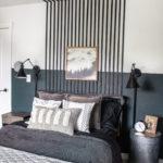 Black Slat Wall In The Bedroom