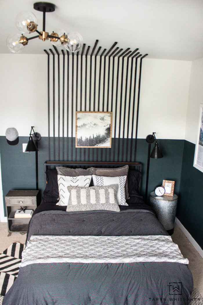 Take a look at this Black Slat Wall In The Bedroom ! It creates such a fun modern look for an accent wall or DIY headboard!